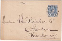 23609# MONACO CHARLES III ENVELOPPE 116x76mm Obl PRINCIPAUTE DE MONACO 1894 HAMBOURG ALLEMAGNE GERMANY - Postal Stationery