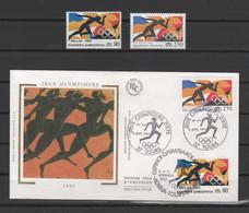 Émissions Communes FRANCE-GRÈCE & FRANCE-ESPAGNE 1992 - Jeux Olympiques - Les 4 Timbres ** + 2 Enveloppes Premier Jour - Ohne Zuordnung