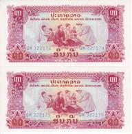 PAREJA CORRELATIVA DE LAOS DE 10 KIP AÑOS 1968-75 SIN CIRCULAR (BANKNOTE)  (UNCIRCULATED) - Laos