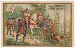 CHROMO TREBUCIEN GOURMETS  CHASSE AU FAUCON COMPIEGNE    CHEVALIERS  FALCONRY  HUNTING  FAUCONNERIE Historique Histoire - Thee & Koffie