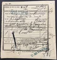 RARE Cachet Linéaire FOULAIN Haute-Marne à Troyes Récépissé Chemins De Fer De L'Est Janvier 1882 France – LD7 - Lettres & Documents