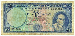 MACAU - 10 Patacas - 07.12.1977 - Pick 55 - Bishop D. Belchior Carneiro - See Signatures - Macao PORTUGAL - Macau