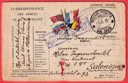 CARTE FM ARMEE SERBE SERBIE ST ETIENNE LOIRE 1917 POUR SALONIQUE ARMEE D'ORIENT CENSURE SERBE SERBIE - 1. Weltkrieg 1914-1918