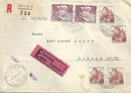 Express R Brief  Zürich Stampfenbach - Schaan FL  (Rollenfrankatur)          1953 - Cartas