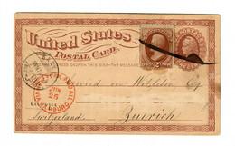 Post Card New York Via Hamburg, To Zürich/Switzerland, 1874, Paid All - Ohne Zuordnung