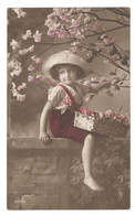 """Postcard Vintage 1914 Used """"Apple Blossoms...Little Eve?""""  Young Girl, Spring Blossoms See Description - Children And Family Groups"""