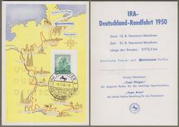 """Bizone: Sonderkarte / Gedenkkarte Mi-Nr. 106 SST, """" Radfernfahrt Quer Durch Deutschland """" !     X - Zona Anglo-Americana"""