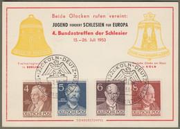 """Berlin: Sonderkarte Mit Michel-Nr. 91-94 SST: """" Bundestreffen Der Schlesier In Köln 1953 """" !      X - Storia Postale"""