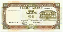 MACAU - 10 Patacas - 8.7.1991 - Pick 65 - Unc. - Serie AV - PORTUGAL - Macau