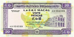 MACAU - 20 Patacas - 1 De Setembro De 1996 - Pick 66 - Unc. - BNU - Serie AD - Macao