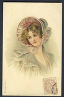 Lady Frilly Bonnet Embossed Color Postcard. M.S.i.B. Series 105 - Andere Illustrators