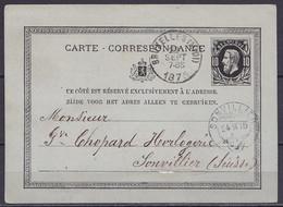EP Carte-correspondance 10c Noir (N°30) Càd BRUXELLES (MIDI) /22 SEPT 1875 Pour Horloger à SONVILLIER (Suisse) - Càpt Ar - Postales [1871-09]