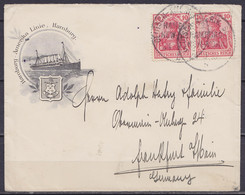 "L. Entête ""HAPAG - Hamburg - Amerika Linie"" (paquebot) Affr. 2x 10pf Càd ""DEUTSCH-AMERIKA SEE FARHT / HAMBURG / NEW YORK - Briefe U. Dokumente"