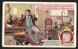 Sammelbild Liebig, Fleisch-Extrakt Und Pepton, Thomas Alma Edison, Erfinder Des Phonografen - Liebig