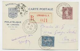 ENTIER 15C SEMEUSE CP EXPO PHILATELIQUE LIMOGES + N°205 RECOMMANDE EXPO PHIL 19.5.1930 POUR PARIS - Postales Tipos Y (antes De 1995)
