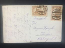 GERMANY 1922 Postcard Jena To Aarhus Denmark Tied With 2 X 1.50 Mark Berlin Post Office - Jena Scene To Front - Brieven En Documenten
