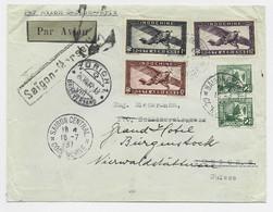 INDOCHINE PA 1$+10C+60C+ 2CX2 LETTRE COVER AVION SAIGON 16.7.1937 TO SUISSE PAR AVION SAIGON PARIS - Covers & Documents