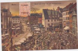 Mainz - Markt En Ludwigstrasse (gekleurde Maar Niet Gelopen Kaart Met Zegel Belgie OC 38 En Militaire Stempel) - Mainz