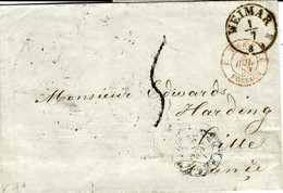 1855- Letter From WEIMAR To   CETTE (south Of France ) Rating 5 D. - Thurn And Taxis