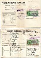 12 PERMIS NATIONAL DE CHASSE - TIMBRES FISCAUX -  CERCOUX - CHARENTE MARITIME -  1955 à 1966 - Unclassified