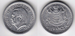 MONACO - ND (1943) - 2 Francs - KM 121 - Louis II - Aluminium Coin - UNC - 1922-1949 Louis II