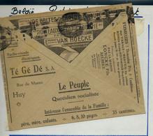 Env. Chèques Postaux:  Journal : Le Peuple - Moulin à Café Et Hache Viande Chez Té Gé Dé à Huy ( 12/12/32) - Publicités