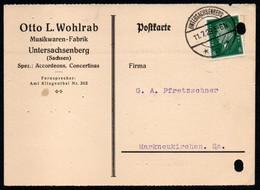 E9591 - Untersachsenberg Otto L. Wohlrab Akkordeon Concertina - Bedarfspost Nach Markneukirchen - Storia Postale