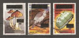 République Démocratique Du Congo 1997 - Petit Lot De 3° - Timbres Du Zaïre Surchargés - Minéraux - Rapace - Champignon - Oblitérés