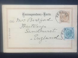 AUSTRIA 1895 Pre-paid 2 Kr Brown Correspondenz-Karte Uprated 3Kr Fehring To England - Cartas