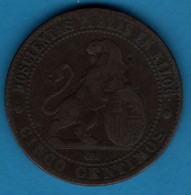 ESPANA 5 Centimos 1870 OM KM# 662 Provisional Government - First Minting