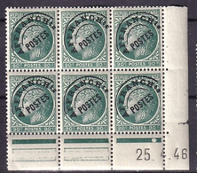 FRANCE - 90 C. Mazelin Avec T Surélevé Dans Un Bloc De 6 Coin Daté Neuf TB - 1893-1947