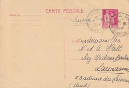France Entier Postal 1F Rose Type Paix Mulhouse Pour La Suisse 1938 - Standaardpostkaarten En TSC (Voor 1995)