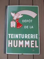 Plaque Emaillee Ancienne Double Face . Teinturerie Hummel . Emaillerie Alsacienne De Strasbourg . Rare - Nettoyage