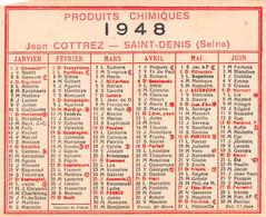 CALENDRIER 1948 - Publicité Produits Chimiques Jean Cottrez, Saint-Denis - Small : 1941-60