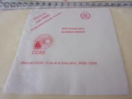 SERVIETTE PUBLICITAIRE SOULAC JUIN 1986 CCAS 40è ANNIVERSAIRE DU STATUT NATIONAL - Company Logo Napkins