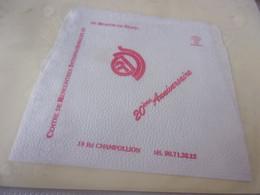 SERVIETTE PUBLICITAIRE  CENTRE DE RENCONTRES INTERNATIONNALES DE DIJON  20è  Anniversaire - Company Logo Napkins