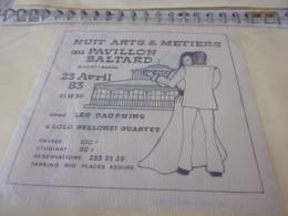 SERVIETTE PUBLICITAIRE NUIT ARTS ET METIERS PAVILLON BALTARD NOGENTSURMARNE 23 AVRIL 83  TRES TRES RARE - Company Logo Napkins