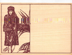 CALENDRIER 1989 Sur Carte En Bois - Mode, Femme Dessinée Par A. Rocher Chopy - Formato Piccolo : 1981-90