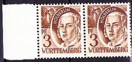 Franz. Zone Württemberg - Hölderlin (MiNr: 2 Paar) 1947 - Postfrisch MNH - American,British And Russian Zone