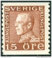 ZWEDEN 1921-36 15öre Guataf V Bruin Wit Papier Tweezijdig PF-MNH-NEUF - Unused Stamps