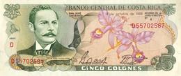 Costa Rica 5 Colones, P-236d (4.10.1989) - UNC - Slight Missprint - Costa Rica