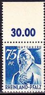 Franz. Zone Rheinland-Pfalz - Gutenberg (MiNr: 13 OR) 1947 - Postfrisch MNH - American,British And Russian Zone