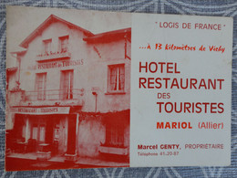 03 MARIOL HOTEL RESTAURANT DES TOURISTES MARCEL GENTY 12.5 X 8.5 CM DEPLIANT 4 PAGES - Tarjetas De Visita