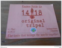 ETIQUETTE BIERE FLANDERS FIELDS ALE 14 18 TRIPEL - Bier