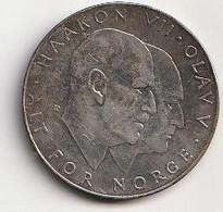 Norvège. Pièce De Monnaie En Argent De 25 Couronnes. 1970. Poids 30 Grammes. Etat Moyen. - Norway