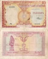 Indochina / 10 Piastres / 1953 / P-107(a) / VF - Indochina
