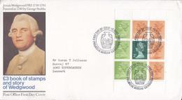 Great Britain Ersttags Brief FDC Cover 1980 H-Blatt 93 Book Of Stamps Josiah Wedgwood Cachet Definitive QEII. - 1981-1990 Dezimalausgaben