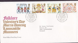 Great Britain Ersttags Brief FDC Cover 1981 Europa CEPT Folklore Morris Dancers Saint Valentine's Day Complete Set - 1981-1990 Dezimalausgaben