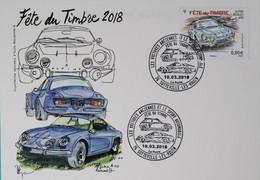 76 Sotteville Lès Rouen - Fête Du Timbre 2018 Alpine Renault Sur CP - Gedenkstempels