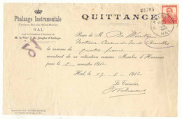 FAC023 -België  Voorkant Briefomslag QUITTANCE PHALANGE INSTRUMENTALE  Fanfares Met Stempel HALLE - 1900 – 1949